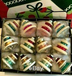 Box 12 Vtg Shiny Brite UNSILVERED SILVERED MICA GLITTER Bell/Tree Xmas Ornaments