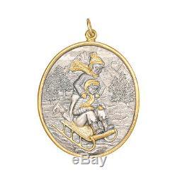 Buccellati Silver & Gold Winter Sleigh Ride Christmas Tree Ornament