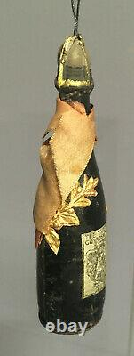 CHAMPAGNE BOTTLE Candy Container w Dresden Trim Antique Christmas Ornament