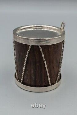 Cartier Drum Wood & Sterling Silver Christmas Tree Ornament RARE