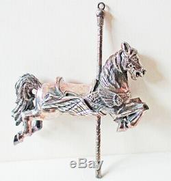 Cazenovia Abroad Sterling Silver Carousel Flag Horse Christmas Ornament