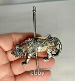 Cazenovia Abroad Sterling Silver Tiger Carousel Ornament