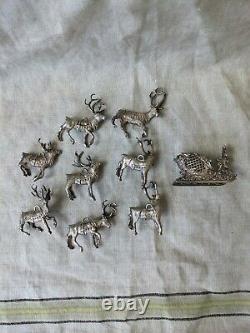 Cazenovia Rare Sterling Silver Reindeer + Sleigh Ornament Lot 8pc Christmas