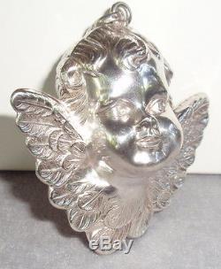 Cazenovia Trush Sterling Silver Winged Cherub Angel 3D Christmas Ornament Pendan