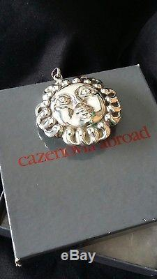Cazenovia dual sides sterling silver sunface Christmas ornament