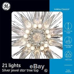 Christmas Decor Tree Topper Holiday Silver Jewel Star Starburst Lights Ornament