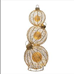 Christmas Pre-Lit 62 Rotating Ornament Décor Classic Gold Silver Indoor Outdoor