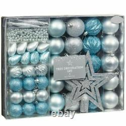 Christmas Tree Decoration Set Of Gorgeous Bauble And Beads Blue & Silver 50Pcs