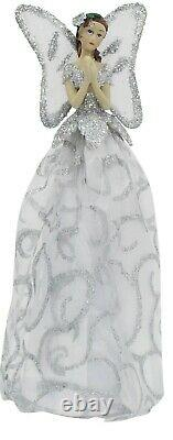 Christmas Tree Topper Fairy Angel Decoration Treetop Ornaments White Silver Gown