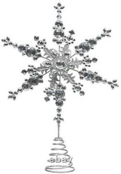 Christmas World Luxury Jewelled Tree Topper Ideal For Xmas Tree Silver