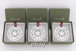 Christofle France Lot Of3 2003 Silver Plated Christmas Ornaments & Page Bookmark
