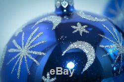 Christopher Radko Christmas Ball Ornament 4 BLUE CELESTIAL SILVER STARS & MOONS