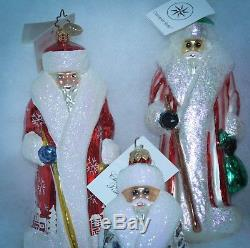 Christopher Radko Christmas Ornament RUSSIAN SANTA SET OF 7 BLUE RED SILVER PINK