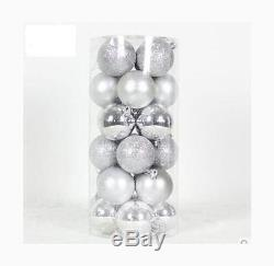 Cmyk Colored Shatterproof 24pk 2.4in 60mm Christmas Balls Ornament in PVC Silver