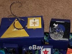 Complete set Swarovski silver and gold snowflake christmas ornaments plus extras