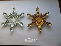 Crystal Baccarat Christmas ornament snowflake (x2) silver and golden