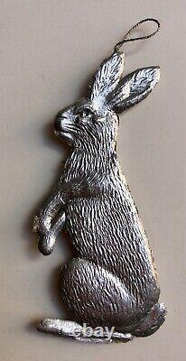 Dresden 2 Sided German Silver Rabbit Christmas Easter Ornament Antique