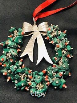 Emilia Castillo STERLING Christmas Wreath Ornament Vintage Neiman Marcus 94.6G