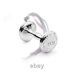 Empire Sterling Silver Baby's First Christmas Dumbell Rattle Ornament 2021 New