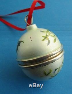 Enamled English Sterling Silver Ball Christmas Tree Ornament Ring Box