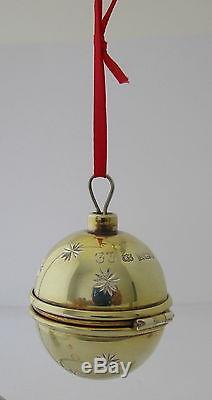 English Sterling Silver Ball Christmas Tree Ornament Ring Box Birmingham