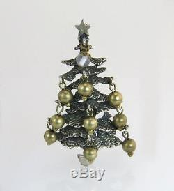 Estate Cini 925 Sterling Silver Christmas Tree Ball Ornaments Pin Brooch 14.6g