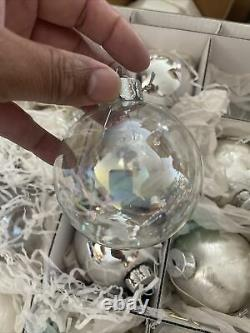 FRONTGATE HOLIDAY COLLECTION CHRISTMAS Xmas ORNAMENTS Lot OF 30 White Silver Cle