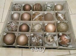 FRONTGATE Set 20 TAUPE SILVER GREY BROWN Glamorous ORNAMENTS Blown Glass 90mm +