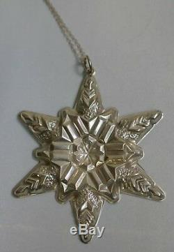 First Gorham Sterling Snowflake 1970 Christmas Ornament On 18 Sterling Chain