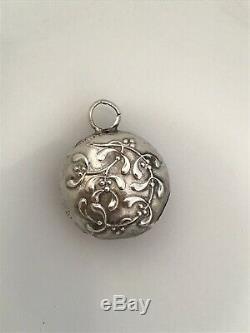 French SOLID Silver Mistletoe Chatelaine Rattle Pendant Christmas Ornament Nouvo