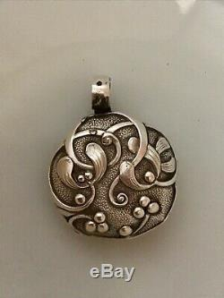 French Sterling Silver Mistletoe Chatelaine Rattle Pendant Christmas Ornament