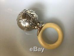 French Sterling Silver Mistletoe Chatelaine Rattle Pendant Christmas Ornament