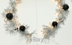 Frontgate Christmas Garland with Ornaments 9.5' Black & White Theme Jim Marvin