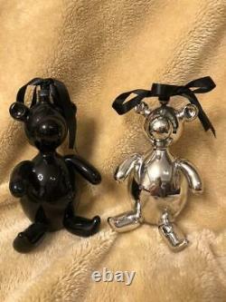 GUCCI Teddy Bear 2002 Limited Christmas Ornament Silver Black 2 Set Unused