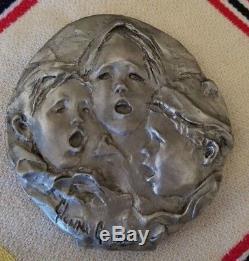 Glenna Goodacre Faces of Three Children Singing Pewter Christmas Ornament RARE