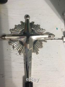 Gorgeous Gorham Sterling Silver Christmas Starburst Cross Tree Topper Ornament