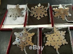 Gorham 1980 1981 1982 1983 1984 Snowflake Christmas Ornaments
