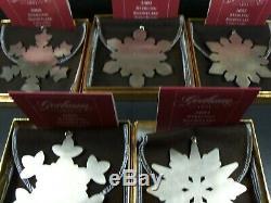 Gorham 2000 2001 2002 2003 2004 Snowflake Christmas Ornaments
