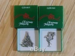 Gorham Sterling Christmas Ornaments Santa and Christmas Tree