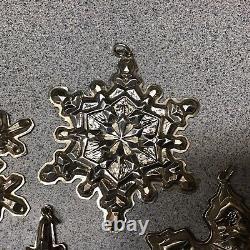 Gorham Sterling Silver 1971 1972 1973 1974 1975 Christmas Snowflake Ornament Lot