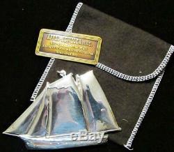 Gorham Sterling Silver Rare 1984 Schooner Christmas Ornament with Orig. Bag & Box