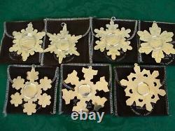 Gorham Sterling Silver Snowflake Holiday Christmas Ornaments Lot of Seven (7)