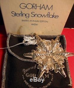 Gorham Sterling Silver Snowflake Ornament Mib 1972