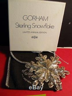 Gorham Sterling Silver Snowflake Ornament Mib 1973