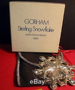Gorham Sterling Silver Snowflake Ornament Mib 1979