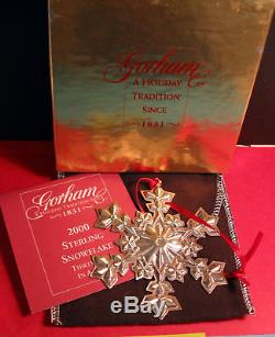 Gorham Sterling Silver Snowflake Ornament Mib 2000