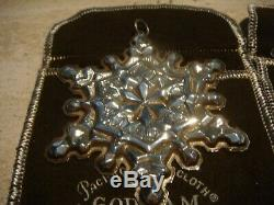 Gorham Sterling Silver Snowflake Xmas Ornaments Set of Four 71 73 74 78 w Bags