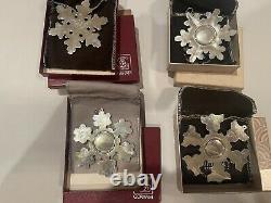 Gorham Sterling Snowflake 12 Ornament Lot 1971-1980 1982 1987