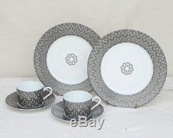 HERMES Porcelain Cup Saucer Plate set Fil d'Argent Tableware Ornament Auth New