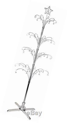 HOHIYA Metal Christmas Ornament Display Tree Rotating Stand 90 Hooks 74inchSilv